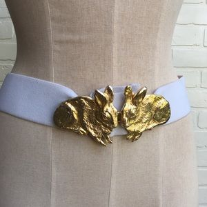 Vintage White Stretchy Belt with Golden Rabbits